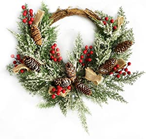 10Leccion Artificial Christmas Wreath for Front Door, Holiday Greenery Wreath with Pine Cone, Red Berries, Burlap Ribbon & Snowflake, 23inch