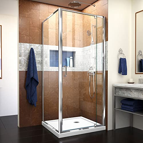 DreamLine Flex 32 in. D x 32 in. W x 74 3 4 in. H Semi-Frameless Pivot Shower Enclosure in Chrome with Corner Drain White Base, DL-6714-01CL