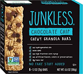 Junkless Chewy Granola Bars, Chocolate Chip, 1.1 oz., 6 Bars (8 Count)