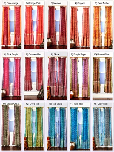 Customized Sari Curtains Boho Chic Jewel Tones Light Window Treatment 108 96 84 inch Sheer Drapes for Bedroom Living Dining Room Bed Canopy Yoga Studio Hippie Gypsy Bohemian Bright Color Home Decor