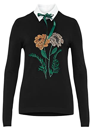 4cacf5d2de0c10 Hallhuber Embroidered Jumper with Optional Collar 14, Black: Amazon.co.uk:  Clothing