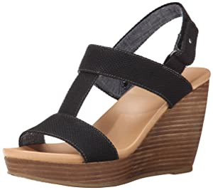 Dr. Scholl's Women's Mica Wedge Sandal, Black, 8 M US