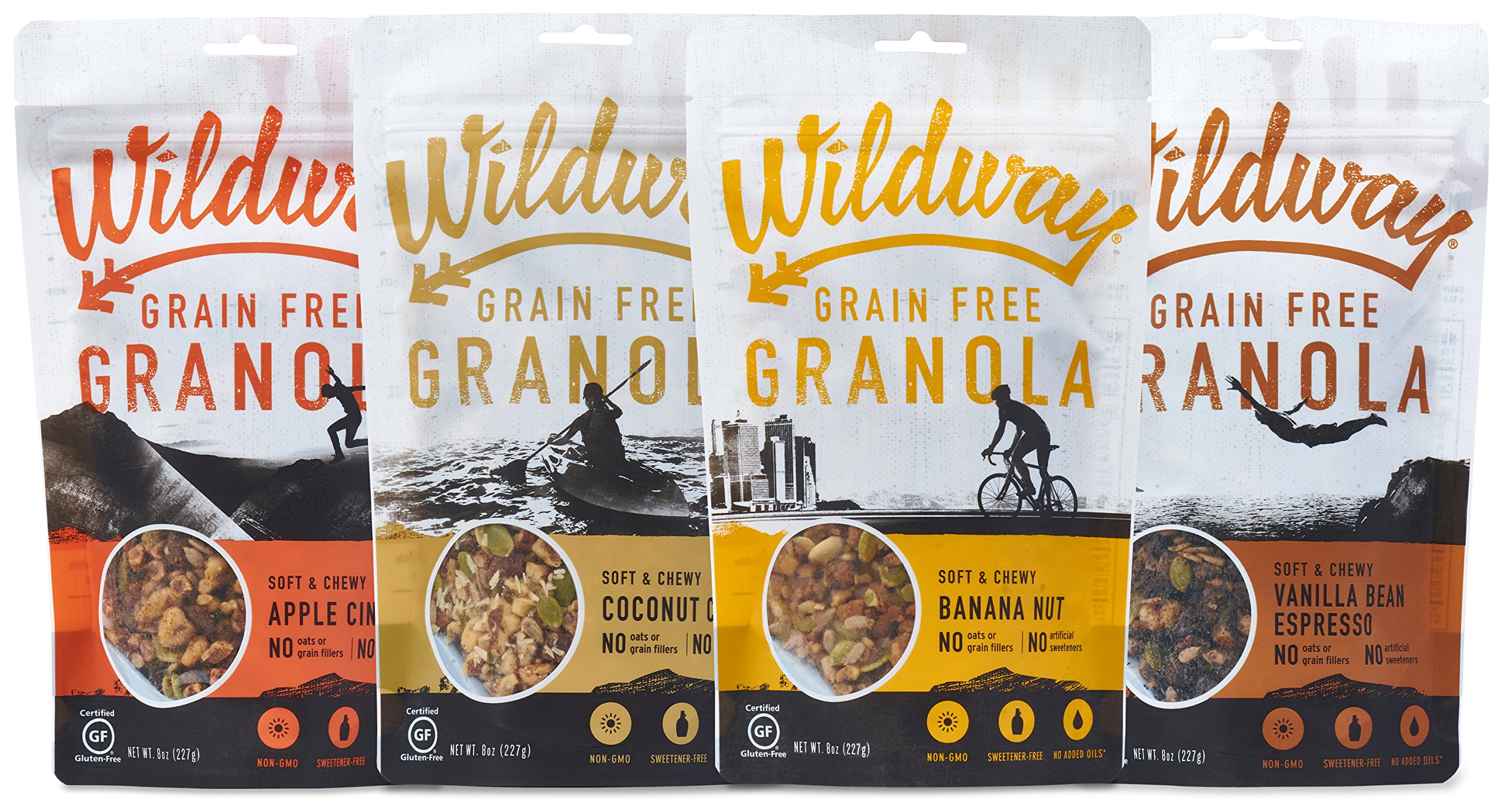 Wildway Vegan Granola | Variety | Certified Gluten Free Granola Breakfast Cereal, Low Carb Snack | Grain-Free, Paleo, Non-GMO, No Artificial Sweetener | 8oz - 4 pack by Wildway