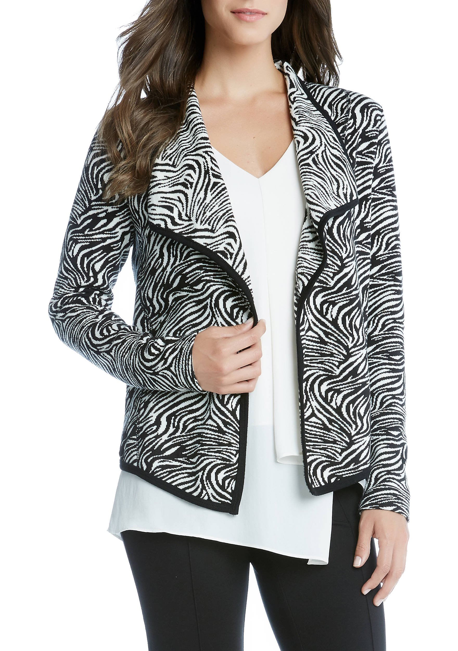 Karen Kane Women's Zebra Print Cardigan (Medium, Black)