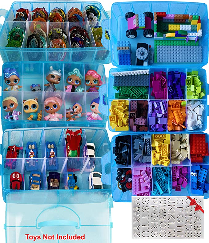 Sooyee 6 Layers Stackable Storage Container Clear 60 Adjustable Compartments,Compatible with Small Toys Arts and Crafts Piping Tips Hardware Storage