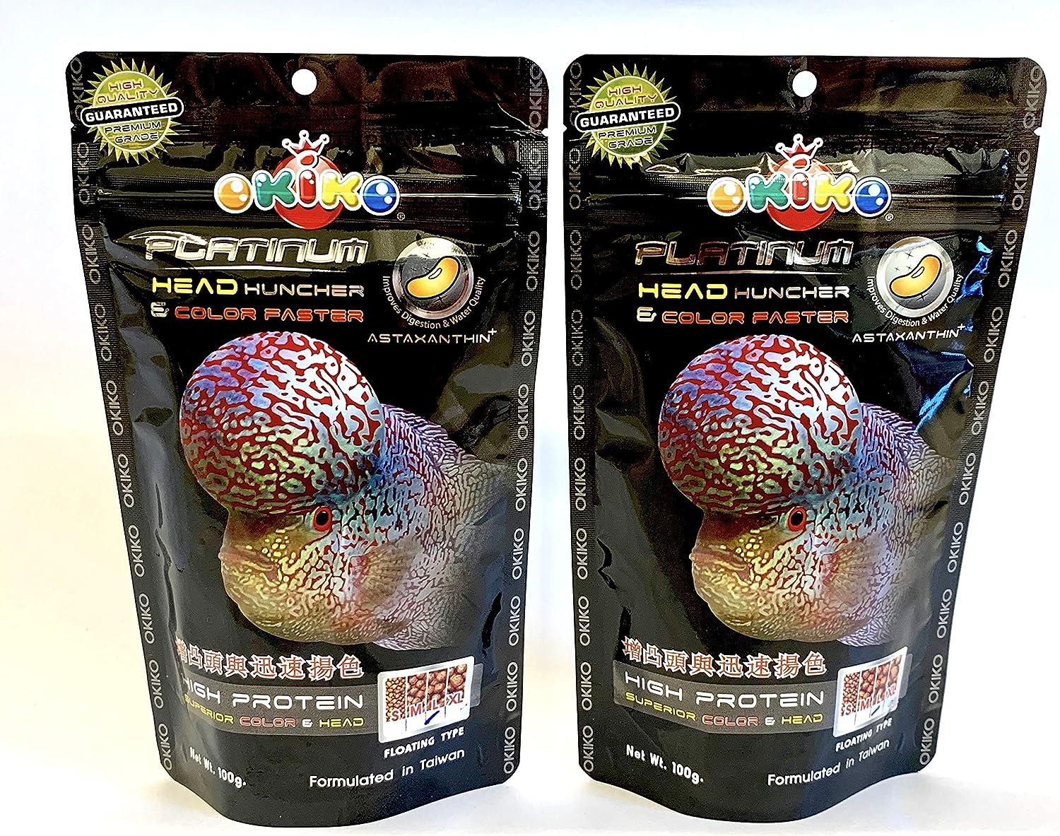 OKIKO 2X FLOWERHORN Cichlid Fish Food Platinum Head HUNCHER Color Faster HIGH Protein 3.5oz