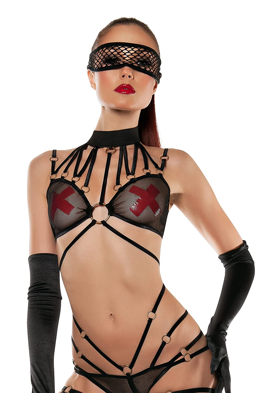 Starline Women's Strappy Mesh Halter Bodysuit 4 Piece Set with Mask Black Medium/Large SL5005