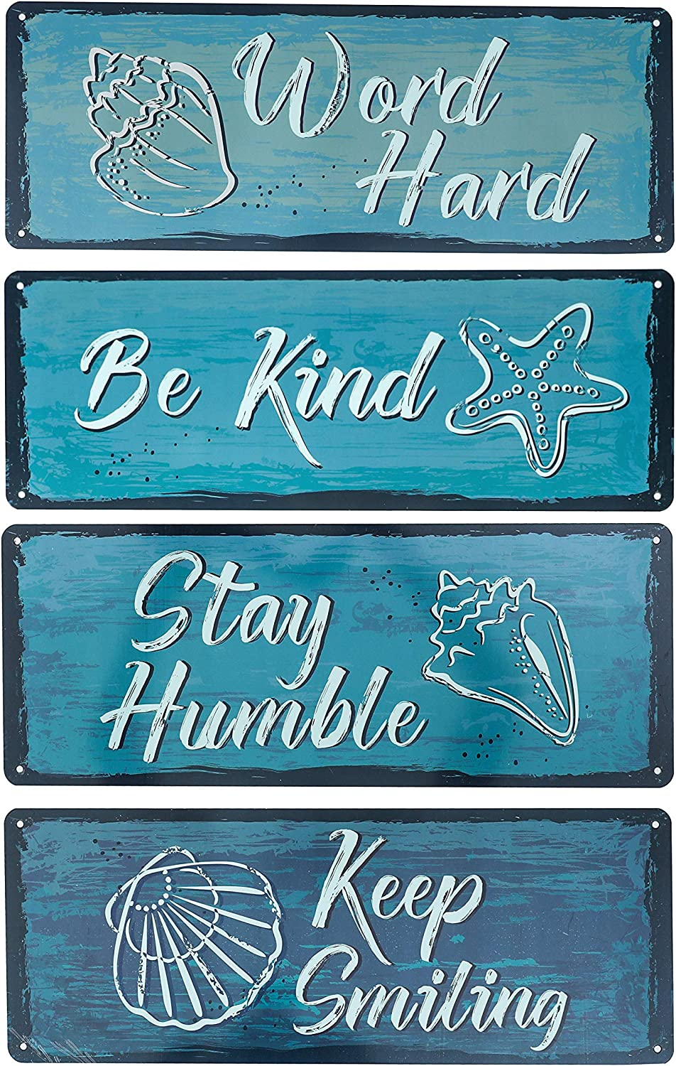 Rustic Metal Sign, Inspirational Quote & Saying Wall Art, Work Hard, Be Kind, Stay Humble, Keep Smiling Metal Wall Decor for Office or Living Room Entryway Home Office Decor Set of 4