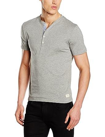 Selected Homme Men's Shhniklas SS Split Neck Noos T-Shirt, Grey (Light Grey