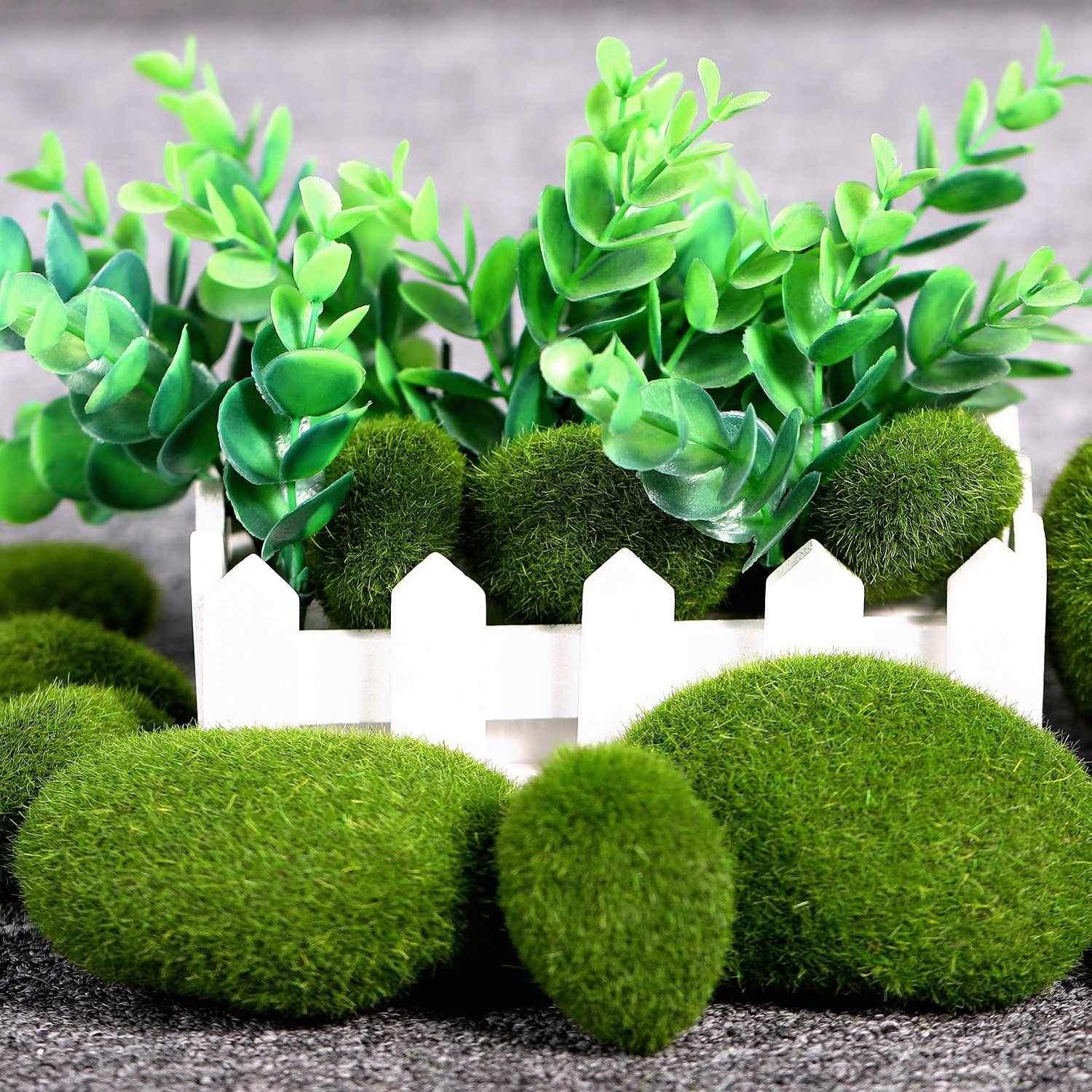 TecUnite 20 Pieces Artificial Moss Rocks Decorative Faux Green Moss Covered Stones 3 Size