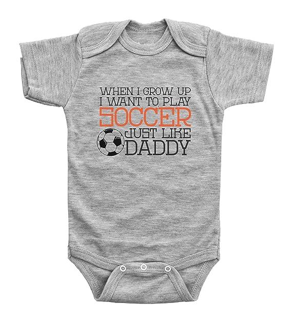 23ee63233 Cute Soccer Onesies   PLAY SOCCER LIKE DADDY   Baby Bodysuit Outfit    Baffle (NEWBORN