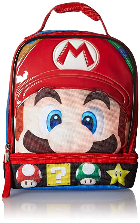 ff4cdcdc4101 Super Mario Brothers Dual Compartment Soft Lunch Box, Blue/Red Toy,  Multicolor, One Size