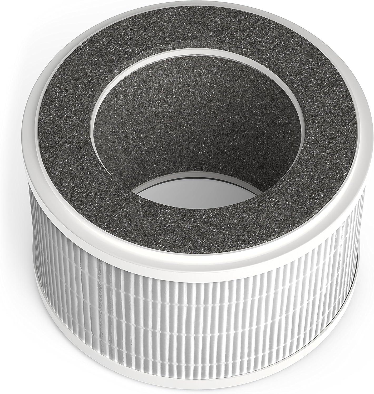 HOmeLabs Purificador de aire 3 en 1 iónico con filtro HEPA® – Mini purificador de aire portátil silencioso ionizador para reducir el olor a moho humo para escritorio habitación pequeña hasta 50