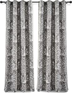 DriftAway Anna Window Curtains 100 Percent Cotton Tree Branches Botanical Print 2 Grommet Panels Each 52 Inch by 84 Inch Gray
