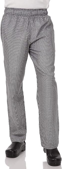 Chef Works Baggy Black//White Checkered Pants Elastic Waist 3 Pockets