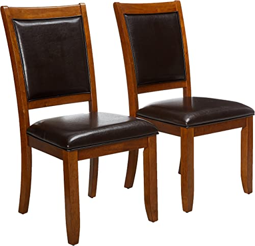 Nelms Upholstered Side Chairs Deep Brown and Black Set of 2