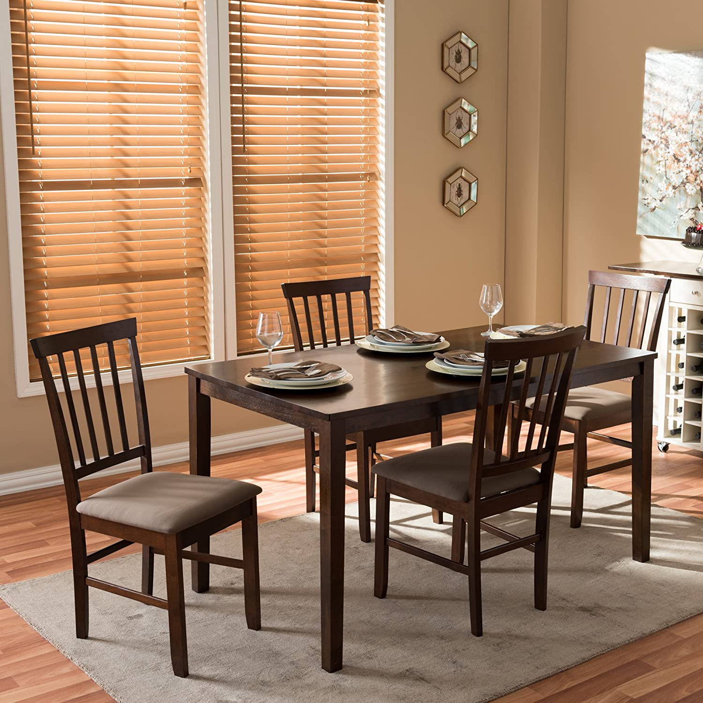 Amazon.com   Baxton Studio Tiffany 5 Piece Wood Modern Dining Set, Espresso  Brown   Table U0026 Chair Sets