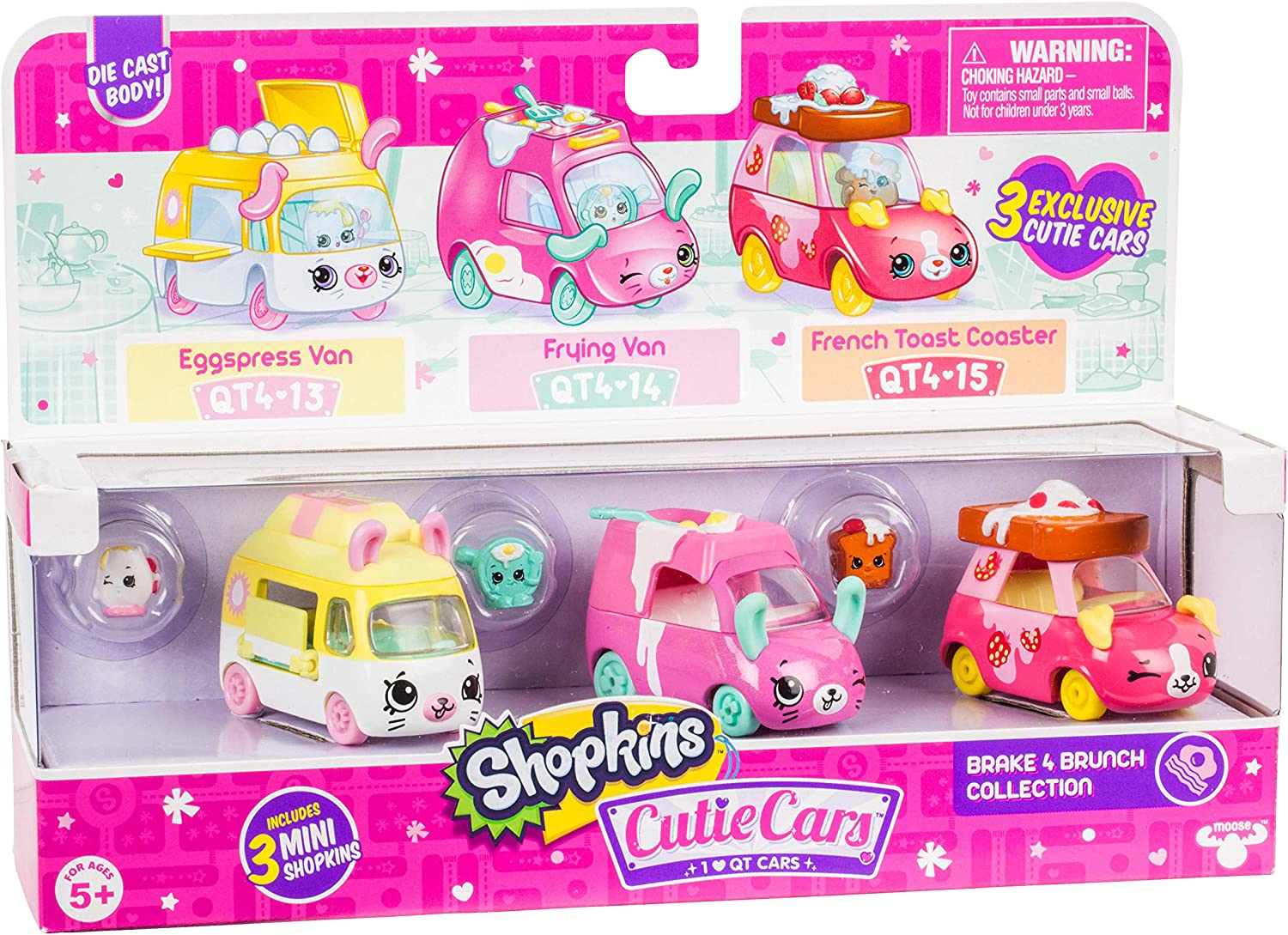 Shopkins Cutie Cars 3 Pack Collections, Die Cast Collectible Cars with Mini Removable Brake for Brunch Collection