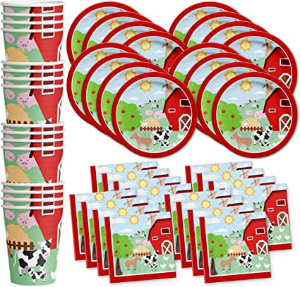 Tablecloth /& Bonus Stickers Farm Decorations -65 Pieces- Napkins Plates Cups Tractor Party Supplies IH Birthday Party Kit or Baby Shower Set 8 Guests