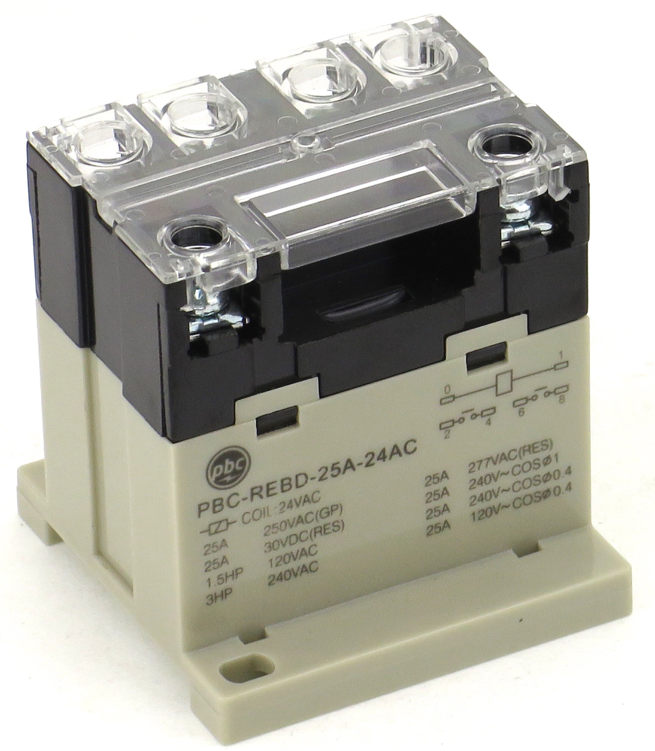 PBC-REBD-25A-24AC General Purpose Relay with Screw Terminal Top, Din Mount Contact, 25 Amp, 24 Volt Coil
