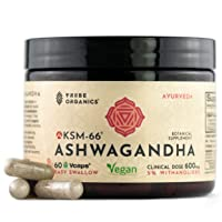 Vegan KSM-66 Ashwagandha Capsules - Pure Organic Root Extract, NO Additives - 5%...