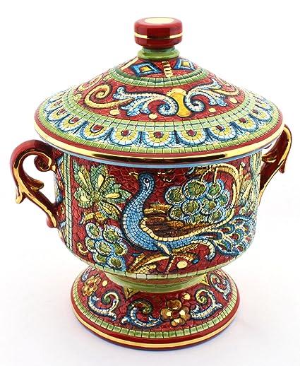 Art Escudellers Jarra Ceramica Pintado a Mano con Oro de 24K, Decorado al Estilo BIZANTINO Rojo. 23cm x 19cm x 24cm: Amazon.es: Hogar