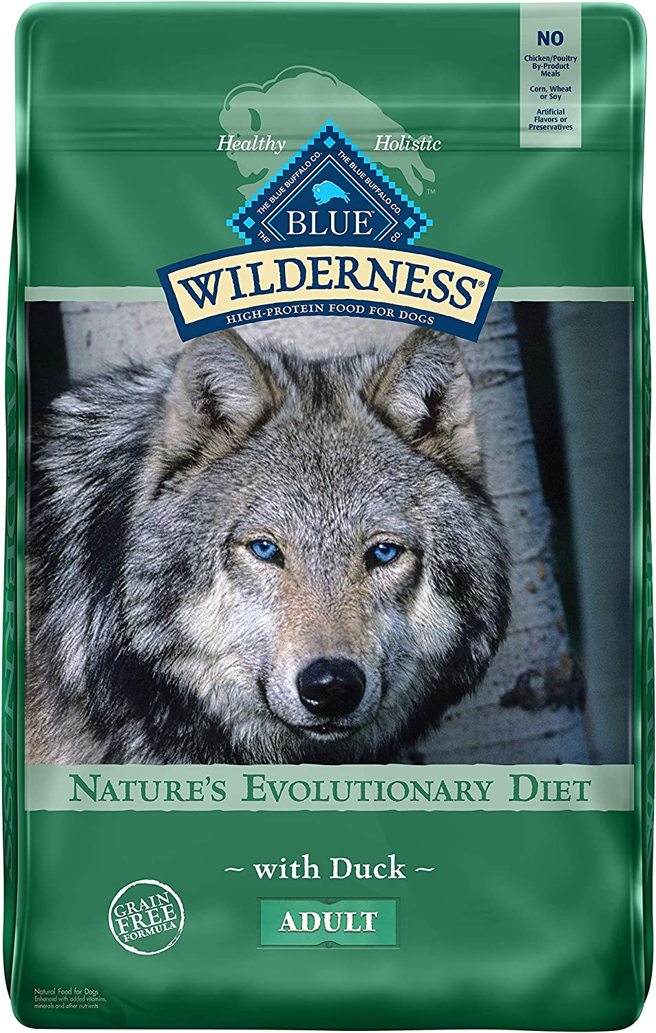Blue Buffalo Wilderness High Protein Grain Free Natural Adult Dry Dog Food, Duck 11-lb