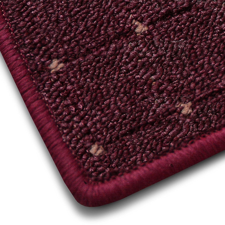 Casa pura Teppich Teppich Teppich Läufer in zahlreichen Größen   mit Punkt Muster   GUT-Siegel, Made in Germany   kombinierbar mit Stufenmatten   Flieder Bordeaux rot (Größe  100x525 cm) B01F96BK80 Lufer 445c08