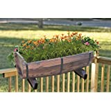 "Vintiquewise Half Barrel Adjustable Deck Railing Planter, 20"", Antique Brown"