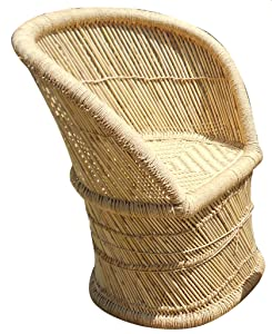 PatioStack Cane Eco Friendly Sitting Rattan & Wicker Chair for Garden / Terrace / Lawn and Home Living Room [ Single Beige Chair, Size : 18*18*34 Inches ]