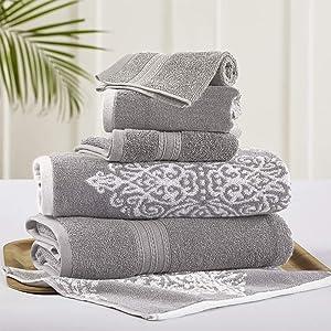 Amrapur Overseas | Artesia Damask 6 Piece Reversible Yarn Dyed Jacquard Towel Set (Grey)