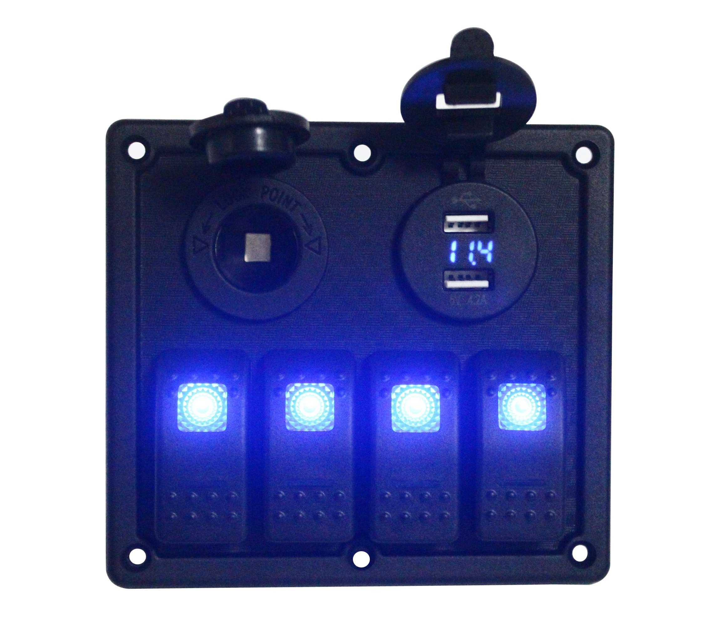 BANDC 12v/24v 4 Gang Rocker Switch Panel Blue Led with Power outlet socket & USB Charger Socket/VOLTMETER