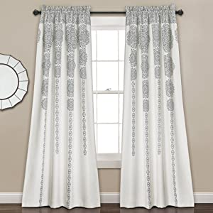 Lush Decor Stripe Medallion Curtains Fabric Mandala Bohemian Damask Print Room Darkening Window Panel Set for Living, Dining, Bedroom (Pair), 84