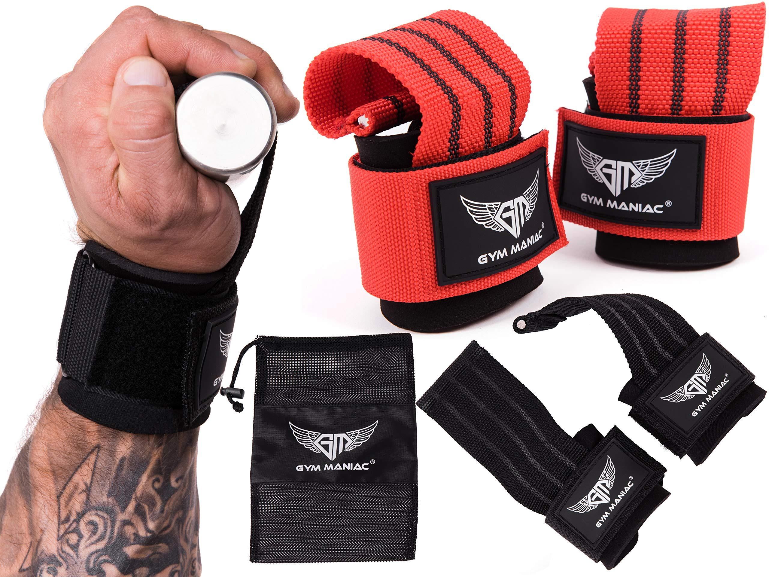 Gym Maniac GM Lifting Straps Wrist Protector for Weightlifting Bodybuilding Powerlifting Strength Training Men & Women (Black)