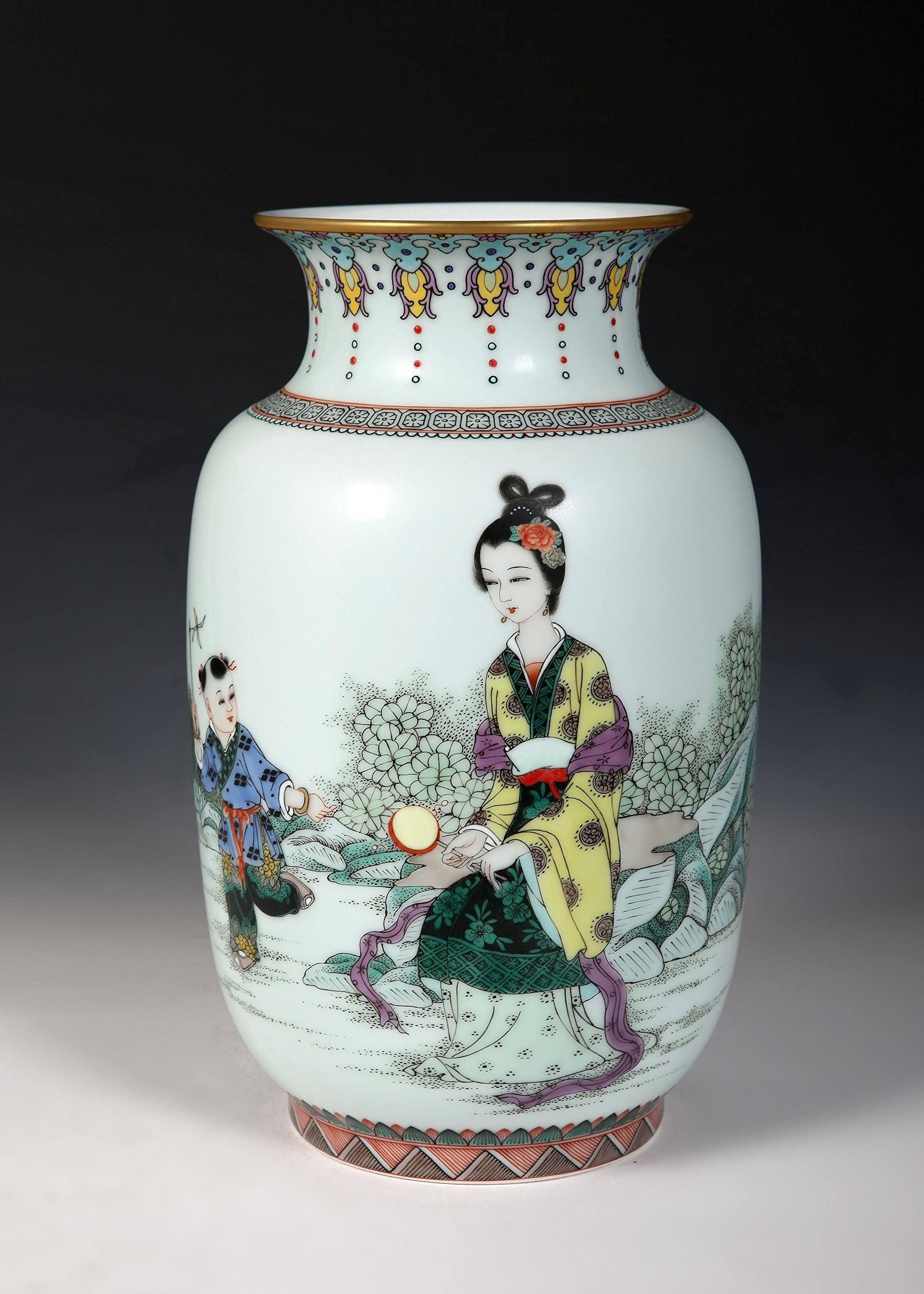 "Guan Ci ""Beauty with Child'' Chinese Porcelain Vase"