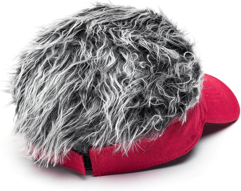 Men's Novelty Flair Hair Visors Spiked Funny Golf Hats Guy Fieri Peaked Fake Wig Adjustable Baseball Caps Birthday Gift Red Grey: Clothing