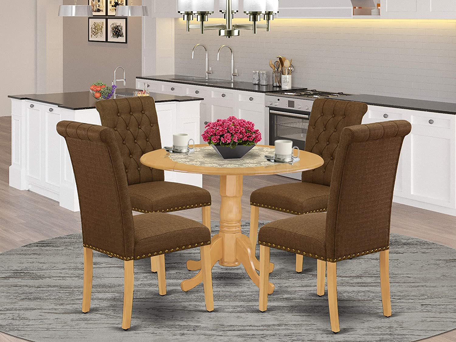 East West Furniture 5Pc Dining Set Includes a Round Dinette Table with Drop Leaves and Four Parson Chairs with Dark Coffee Fabric, Oak Finish