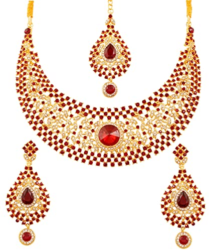 ca0d3c5b1 Touchstone White Red Rhinestone and Rivoli Shape Candy Faux Ruby  Traditional Bridal Designer Necklace Set in
