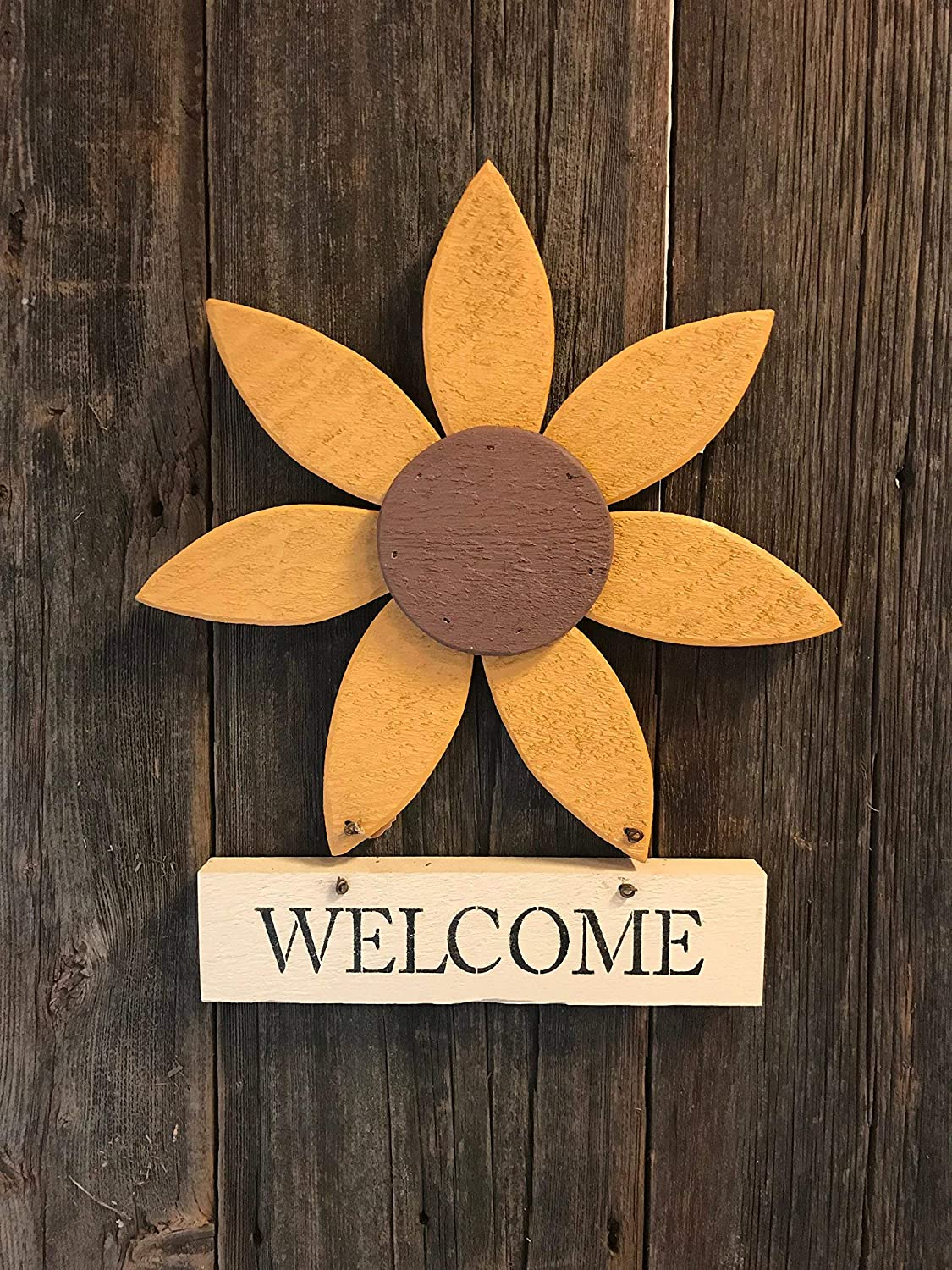 Wood Flower with Welcome Sign Patio Furniture Artwork Garden Shed Barn Door Lawn Decor Outdoor Painted Wood Ornament Spring Summer Fall