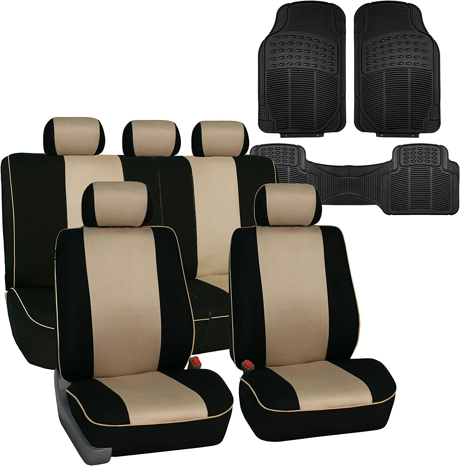Fit Most Car Truck SUV Airbag Compatible and Split Bench FH Group FH-FB063115 Full Set Sports Fabric Car Seat Covers Solid Black or Van