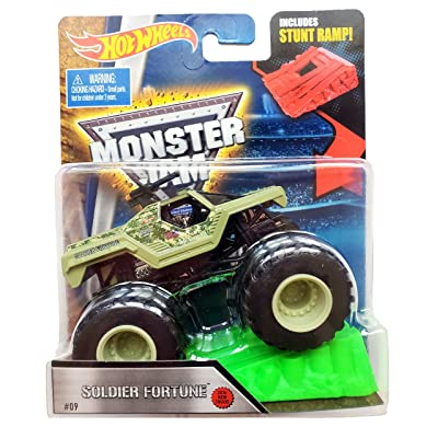 Hot Wheels Monster Jam 1:64 Soldier of Fortune Vehicle with Stunt Ramp 9: Toys & Games
