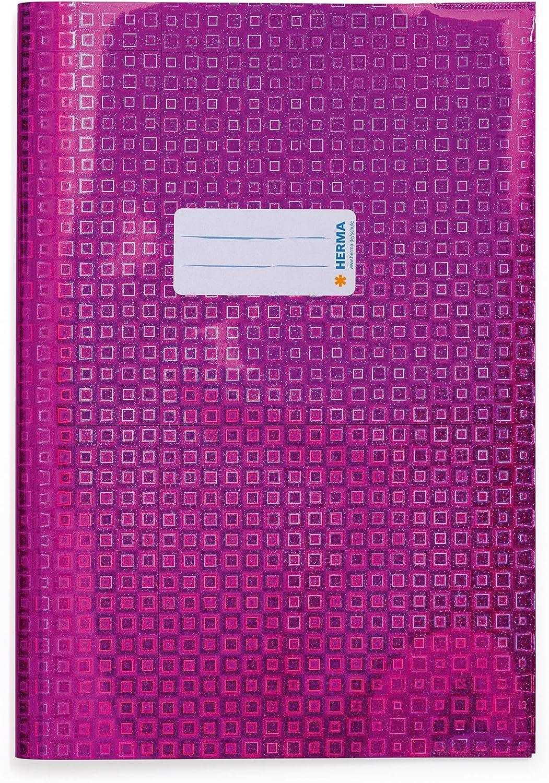 Heftschoner f/ür Schulhefte aus strapazierf/ähiger und abwischbarer holografischer Polypropylen-Folie pink HERMA 19803 Heftumschlag DIN A4 Glamour mit Beschriftungsetikett