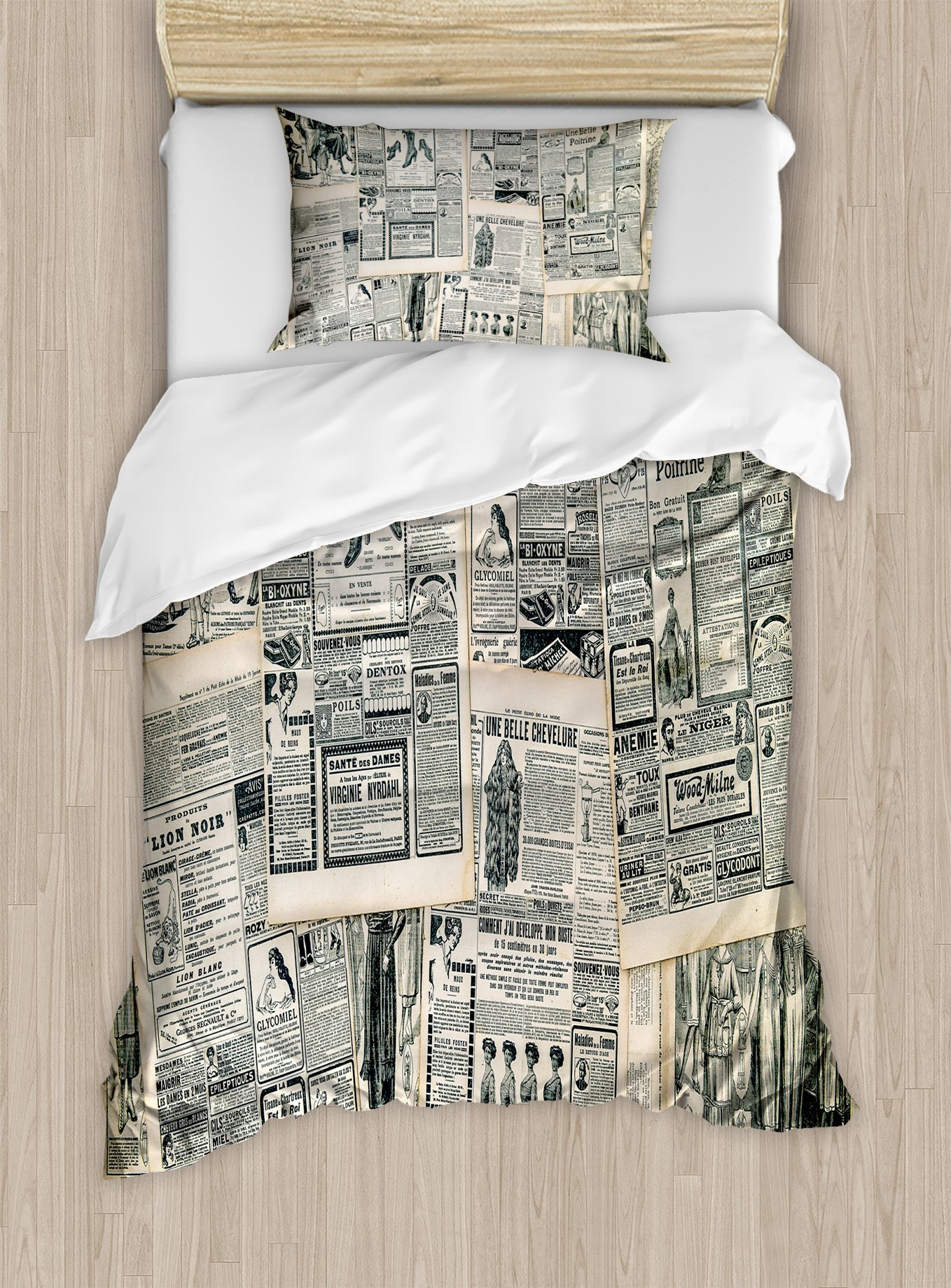 Ambesonne Antique Duvet Cover Set Twin Size, Vintage Style Sepia Toned Newspaper Print with Old Fashioned Illustrations, Decorative 2 Piece Bedding Set with 1 Pillow Sham, Dark Green Beige