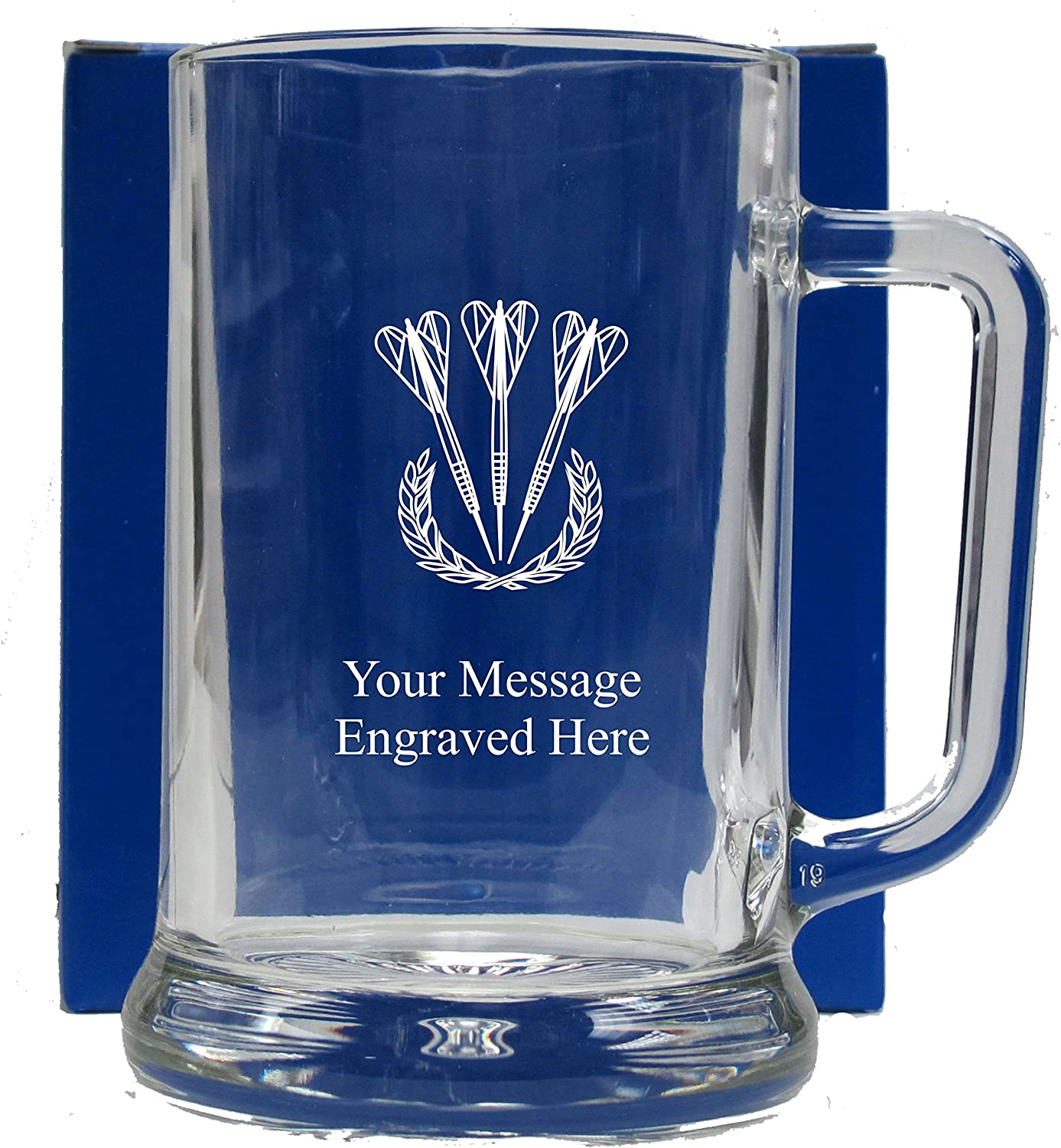 Personalised DARTS 1 Pint Beer Glass FREE ENGRAVING Any Message Engraved Gift