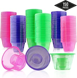 Matana 150 Disposable Jager Bomb Shot Glasses - Hard Plastic Bomber Shot Cups in 3 Neon Colors - Heavy Duty, Highly Durable and Reusable Shot Glasses - Perfect for Shots, Red Bull & Jagermeister.