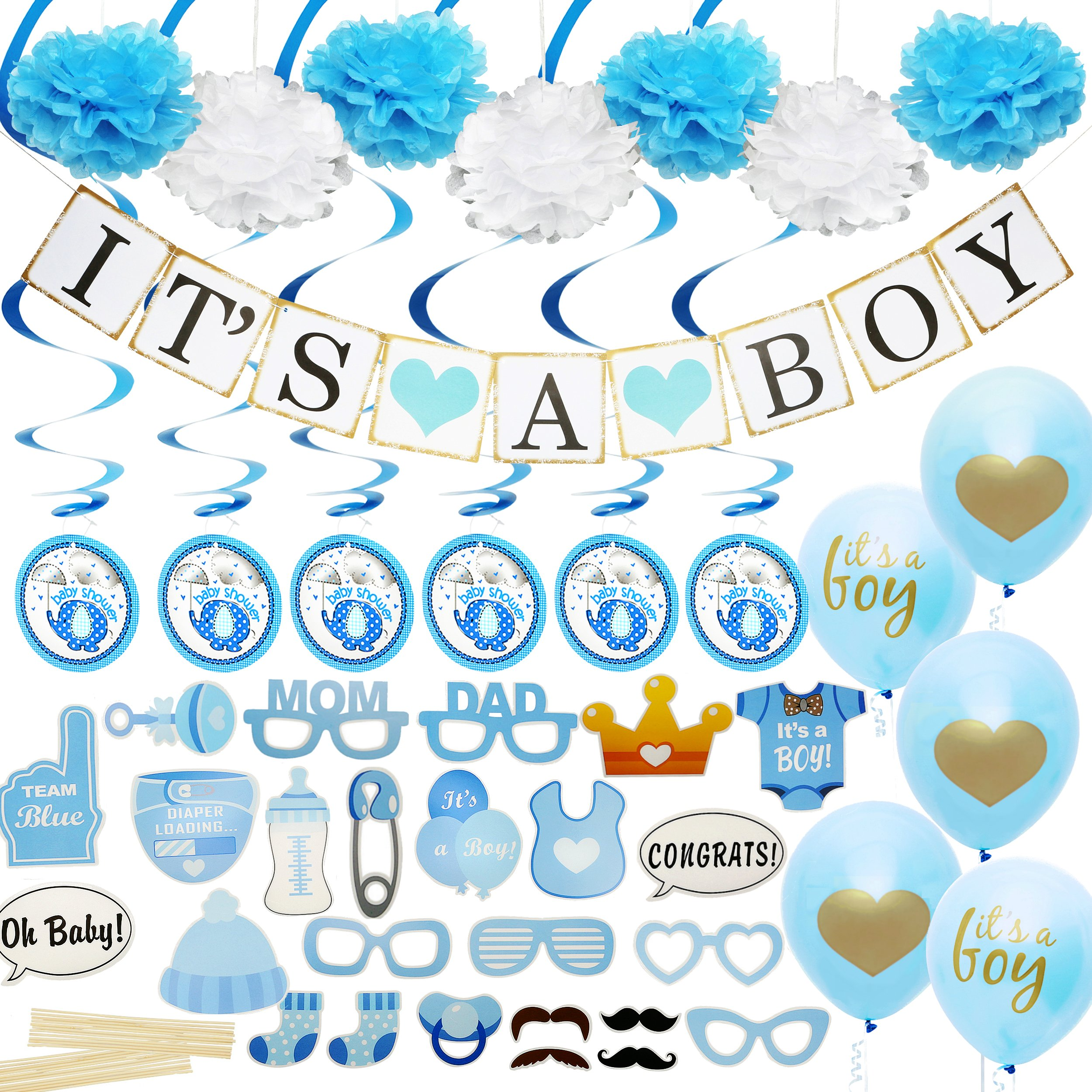 Amazon.com: Summer-Ray 50pcs Blue Baby Feet Baby Shower Favor Thank ...