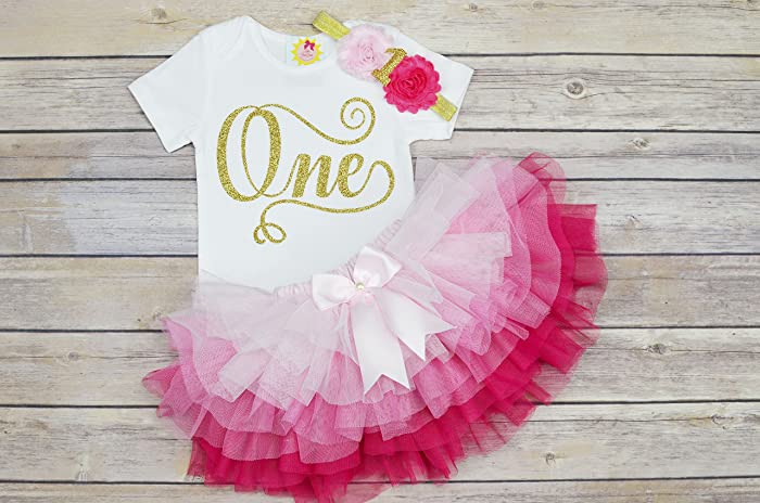 Amazon First Birthday Outfit Girlgold One Birthday Shirtpink