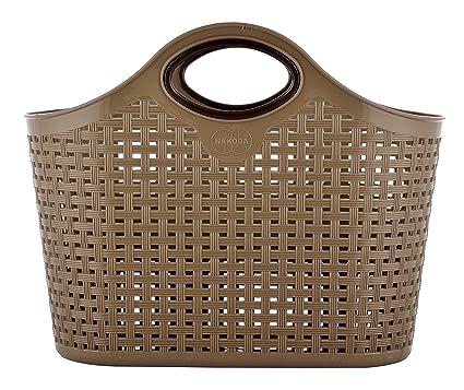 Nakoda Plastic Hand-Powered Storage Basket (7 cm x 11 cm x 7 cm, Brown)
