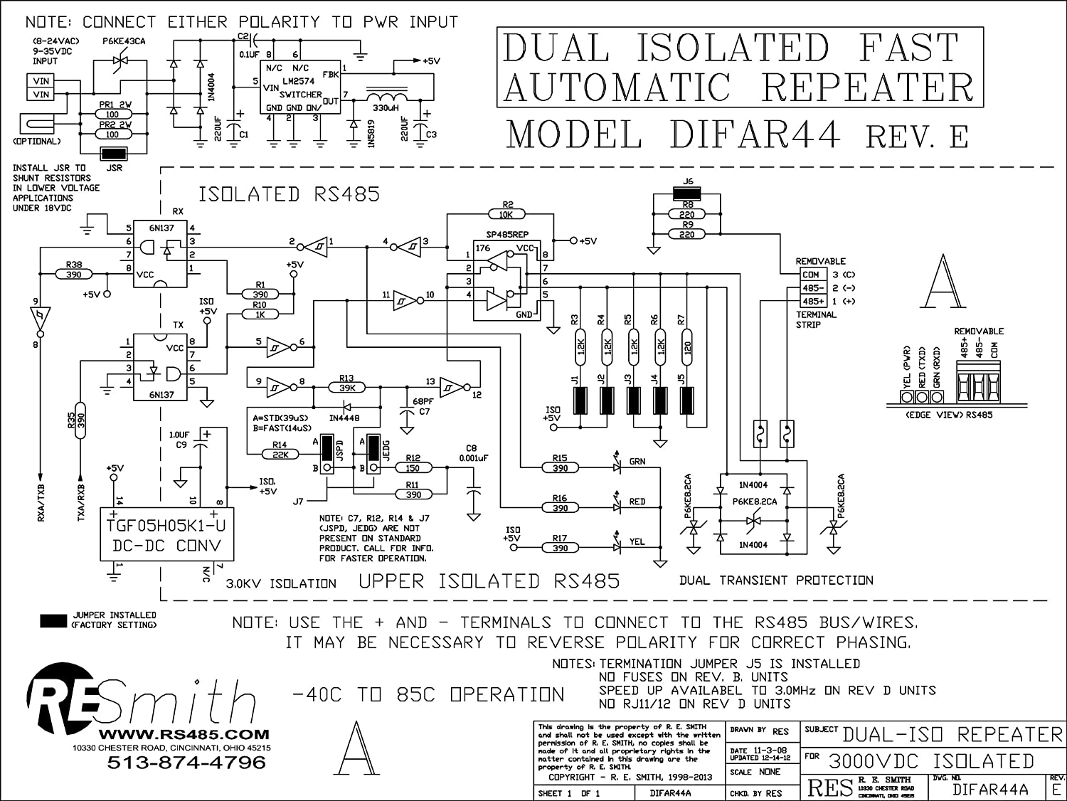 Difar44 Dual 30kv Isolated Rs485rs485 Inline Rs 485 2wire Diagram Repeater Extender Assembled Circuit Board Only Home Audio Theater