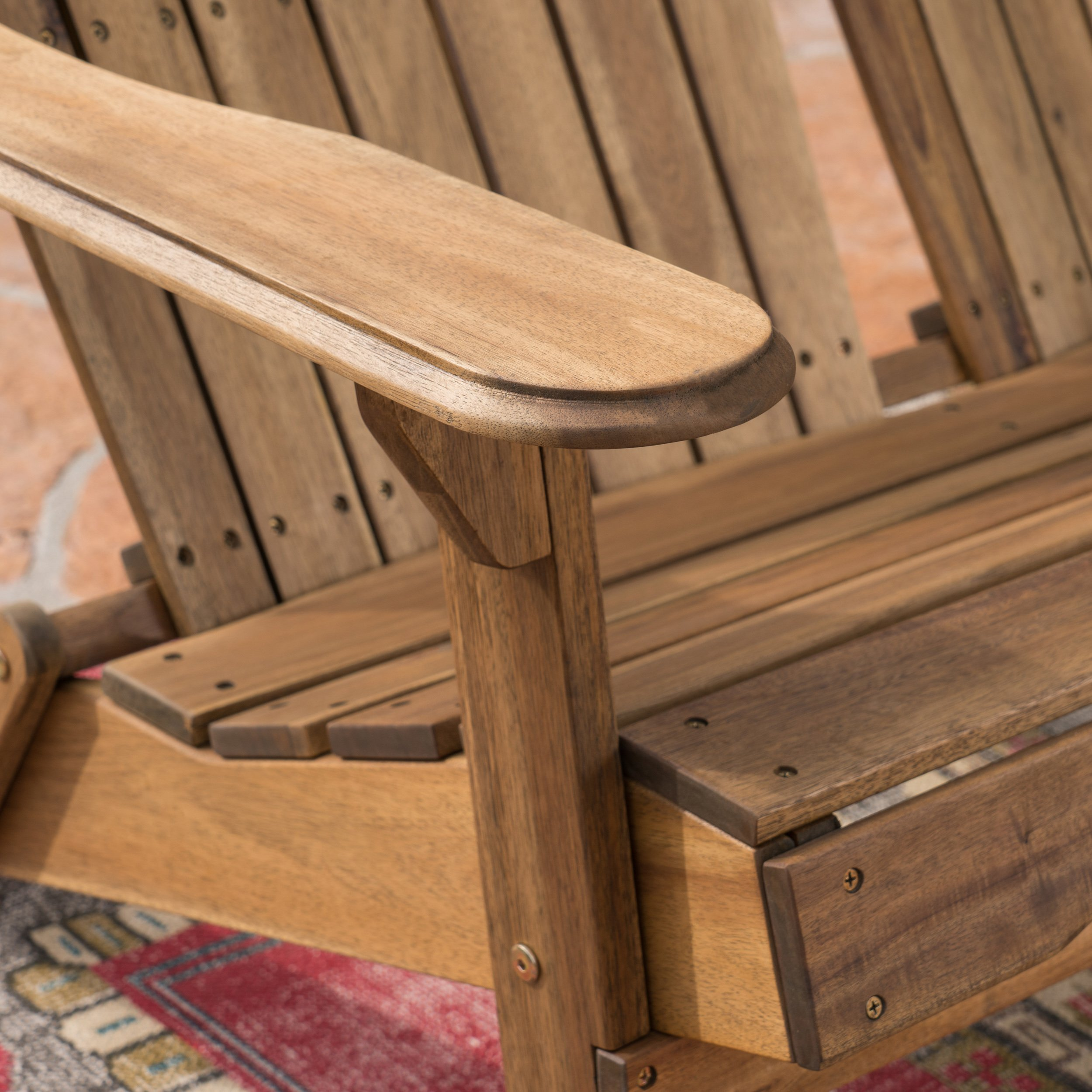 Great Deal Furniture Muriel Outdoor Natural Finish Acacia Wood Adirondack Loveseat by Great Deal Furniture (Image #7)